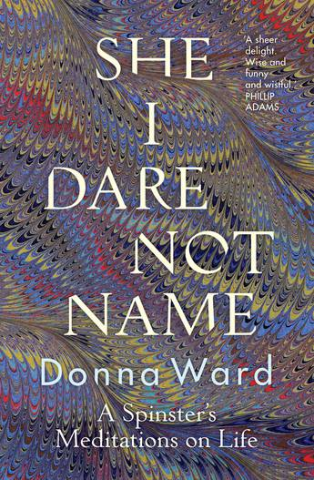 book cover with She I Dare Not Name overlaying a marbled background
